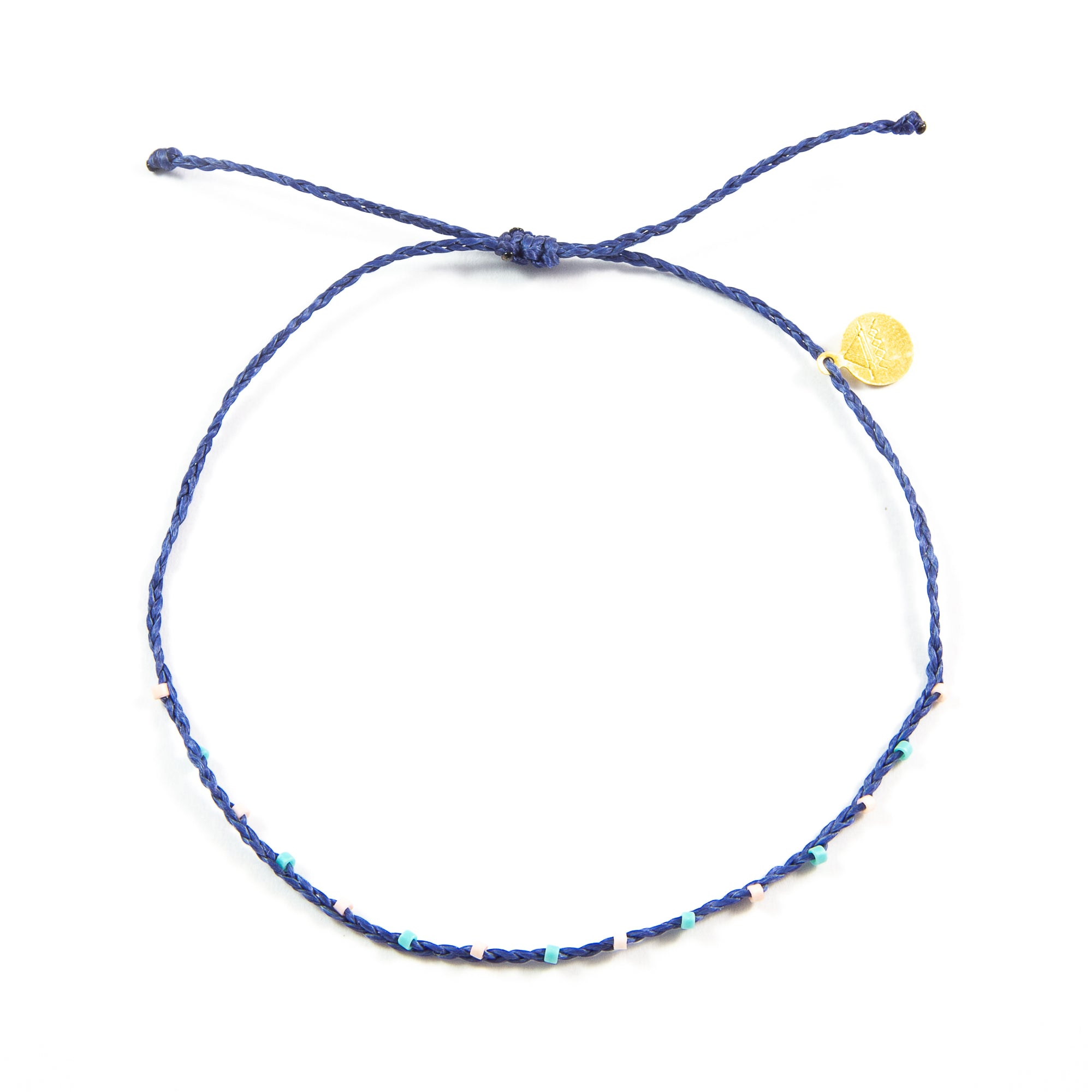 Navy Barely Beaded Anklet