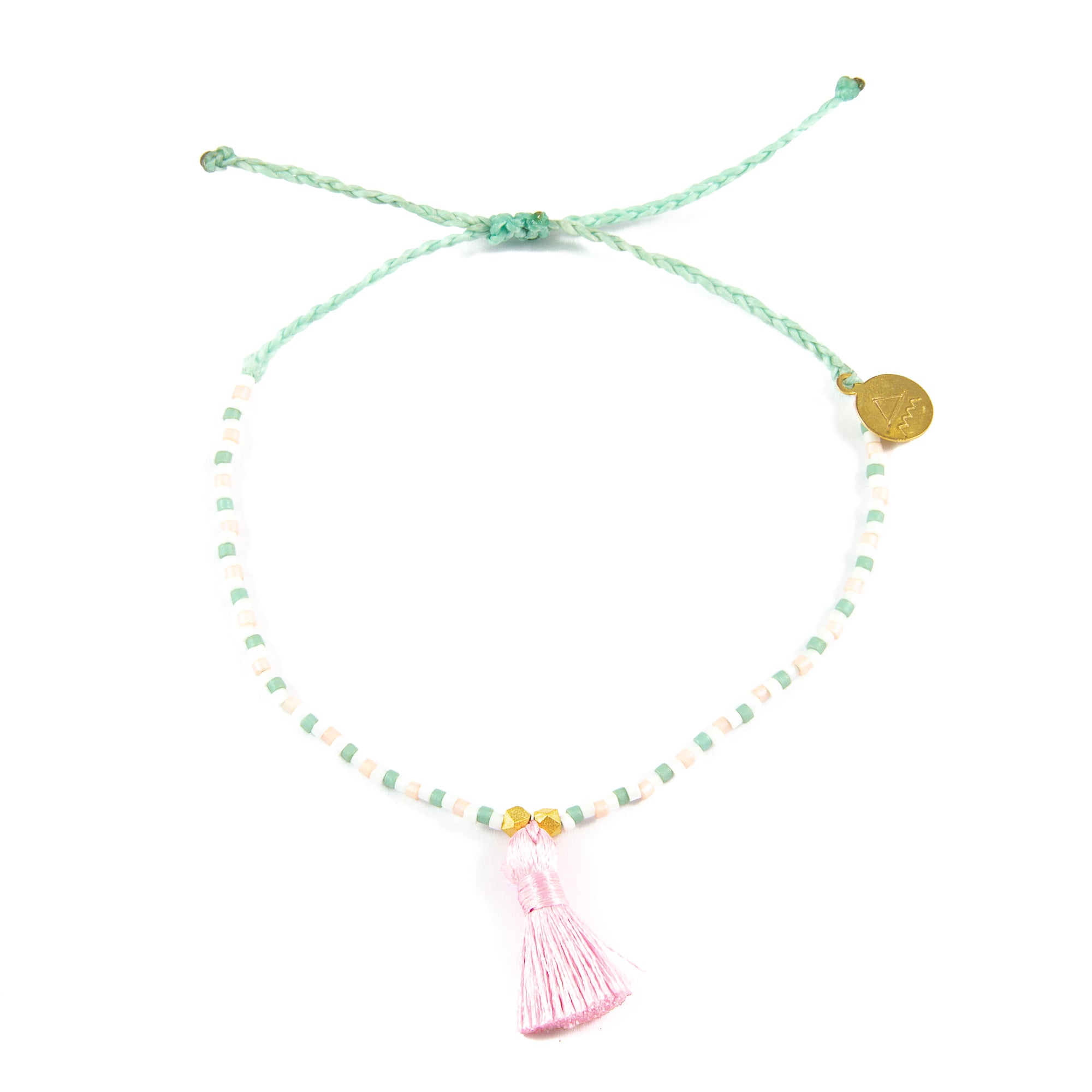 Cucumber with Sunset Pink Tassel Anklet
