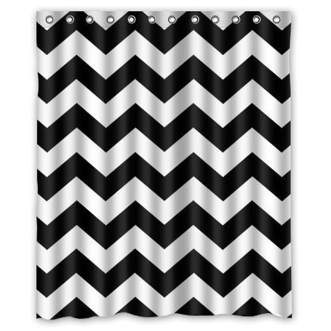 black white chevron shower curtain. Black and White Chevron Shower Curtain  Polyester Fabric by DOTZ Bathroom Collection