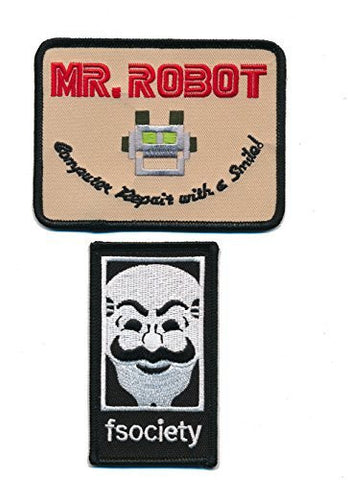 Patch Squad Men's SET of 2 MR Robot FSOCIETY TV Show Embroidery Patch