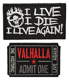 Mad Max Fury Ticket to Valhalla and I Live I Die Embroidered Patch Set