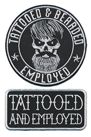 Tattooed Bearded And Employed Embroidered Patch Set