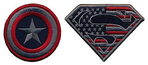 Patch Squad Men's Captain America and Superman Set of two Embroidered Tactical Patch