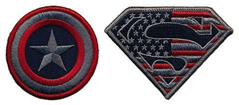 Patch Squad Men's Captain America and Superman Set of two Embroidered Tactical Patch - Patch Squad