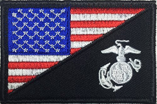 Patch Squad Men's Tactical USA Marine Corps Military Patch (Black/red/white/blue)