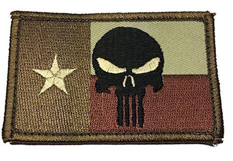 Velcro Texas Flag Punisher Tactical Patch (Desert) - By patch Squad