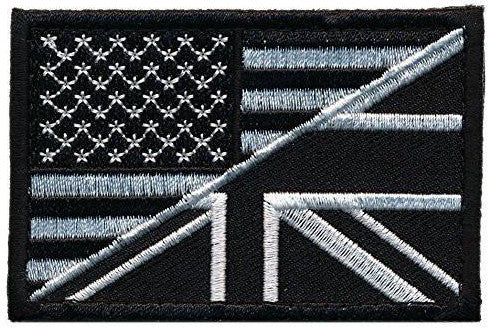 Patch Squad Men's USA/ UK Tactical Embroidered Flag Patch (Black/White)