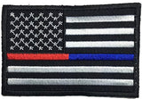 "Patch Squad Men's USA Flag Police Thin Blue / Firefighter Thin Red Line 3""x2"" Patch"