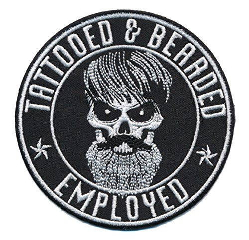 Patch Squad Men's Tattooed Bearded And Employed Embroidered Patch