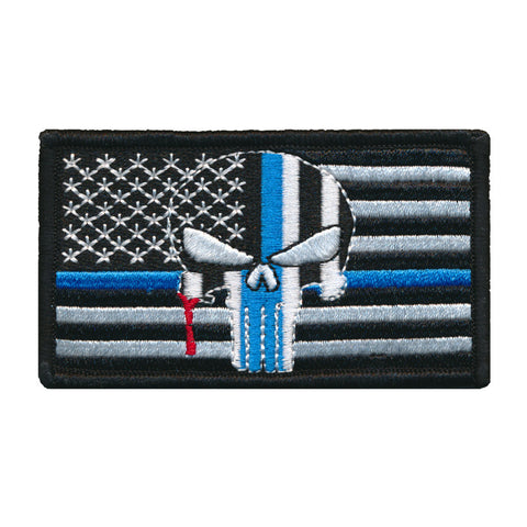 Tactical USA Flag Blue Line Bleeding Crusader Punisher Police Patch