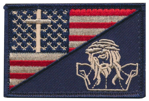 Tactical USA Flag / Christian Cross Jesus Crucifixion Embroidered Patch