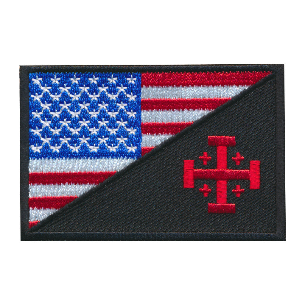 USA Flag / Jerusalem Cross Embroidered Patch
