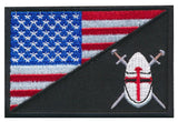 Tactical USA Flag / Cross Shield Christian Knight Morale Patch