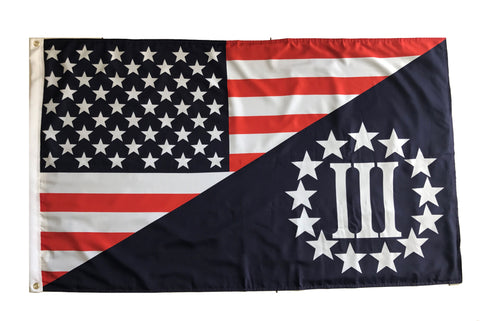Tactical HEAVY DUTY DURABLE DOUBLE SIDED OUTDOOR USA Flag / Three Percenter 5'x3' Flag