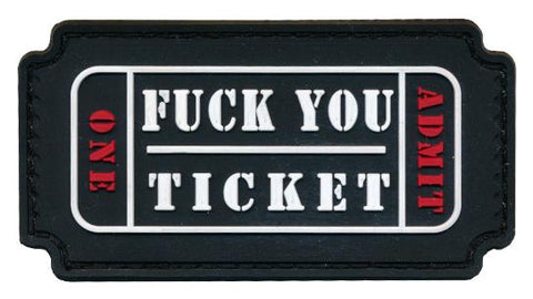 F*CK YOU Raffle Ticket 3D PVC Patch
