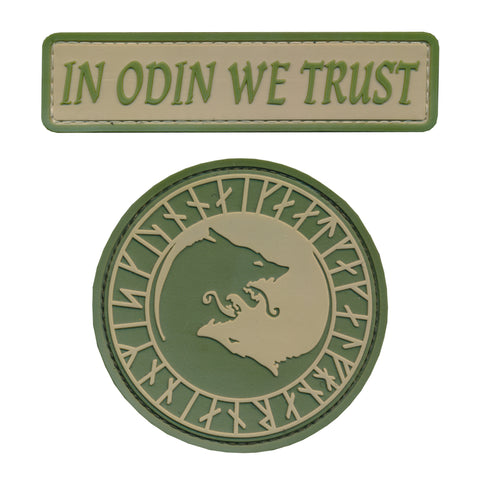 """In Odin We Trust"" God of Vikings PVC Patch (2pc Set)"