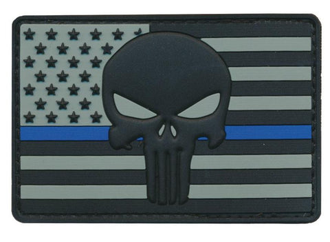 US Flag Blue Line Punisher 3D PVC Patch