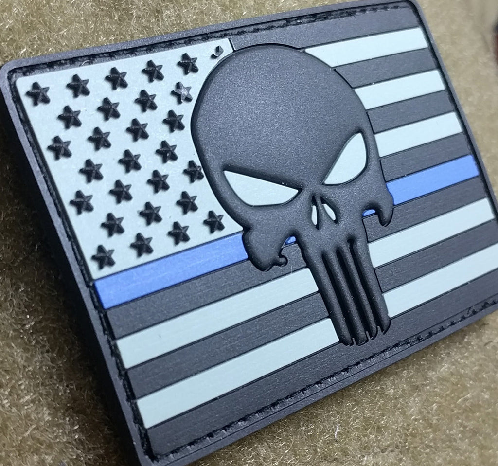 Patch Squad Men's Tactical 3D PVC Police US Flag Punisher Embroidered Patch