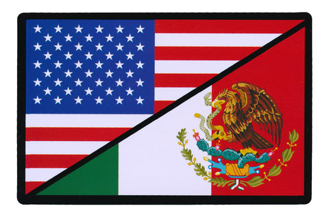 Tactical USA Flag / Mexico Flag Sticker Decal