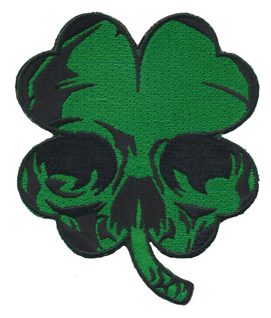 Harley Biker Luck of the Irish Clover Skull Punisher Embroidered Patch