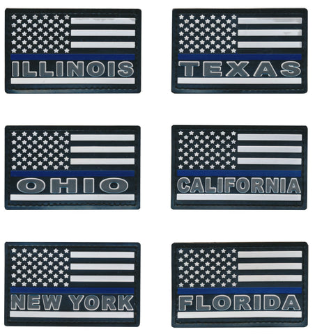 Tactical USA Blue Line Police State Flag PVC Patches