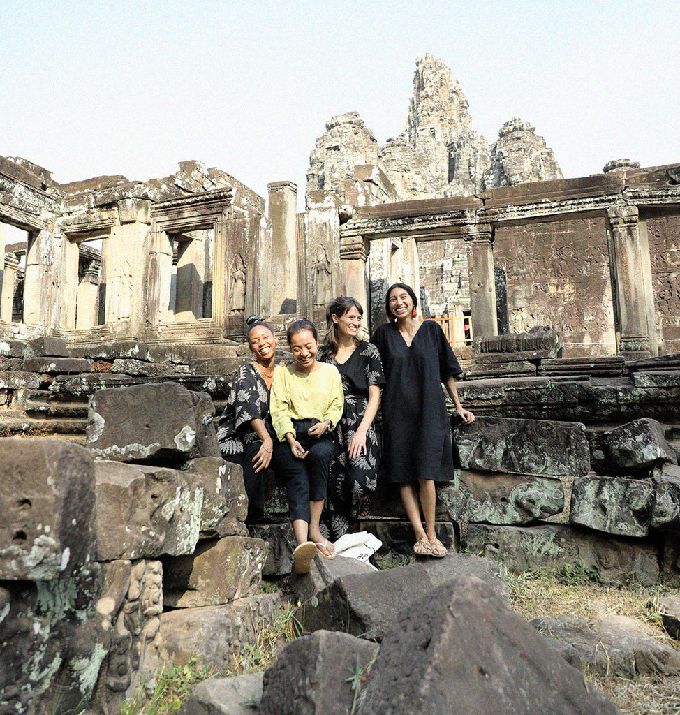 Members of the leadership team at tonlé at the Bayon Buddhist Temple in Siem Reap, Cambodia