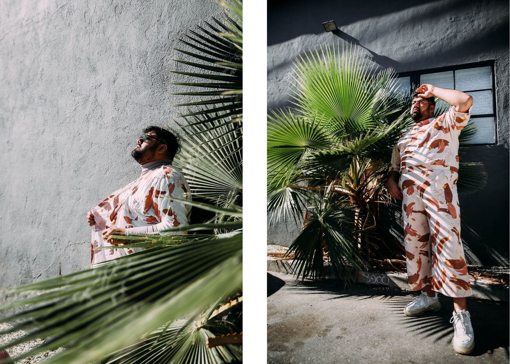 Shams Ahmed models clothing from our tonlé x plantkween collection https://tonle.com/collections/plant-kween-x-tonle-collection/products/torey-tunic