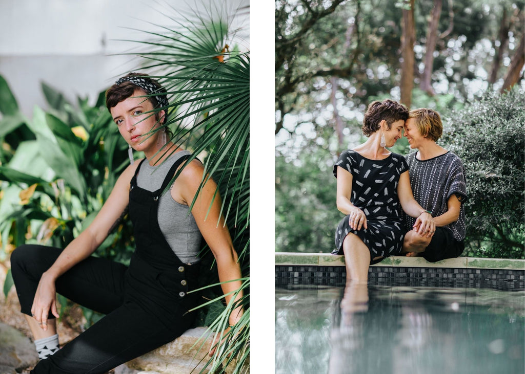 Jess and partner Kim wearing tonlé zero waste fashion https://tonle.com/collections/jumpsuits-1/products/rj-overalls
