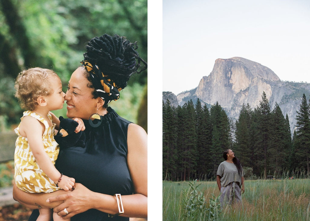 Chloe Jackman wears tonlé zero waste clothing with her son and at Yosemite https://tonle.com/collections/bestsellers/products/nearady-top