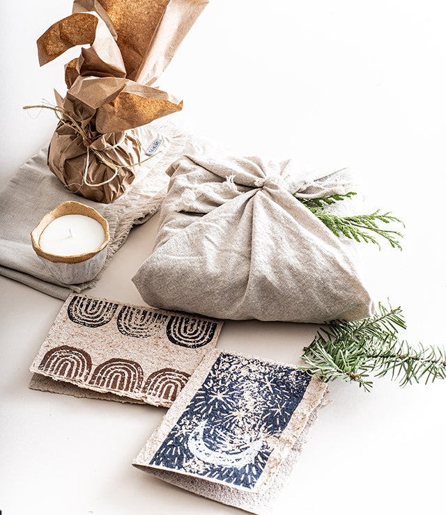 A selection of tonlé gift items sustainably wrapped for the holidays