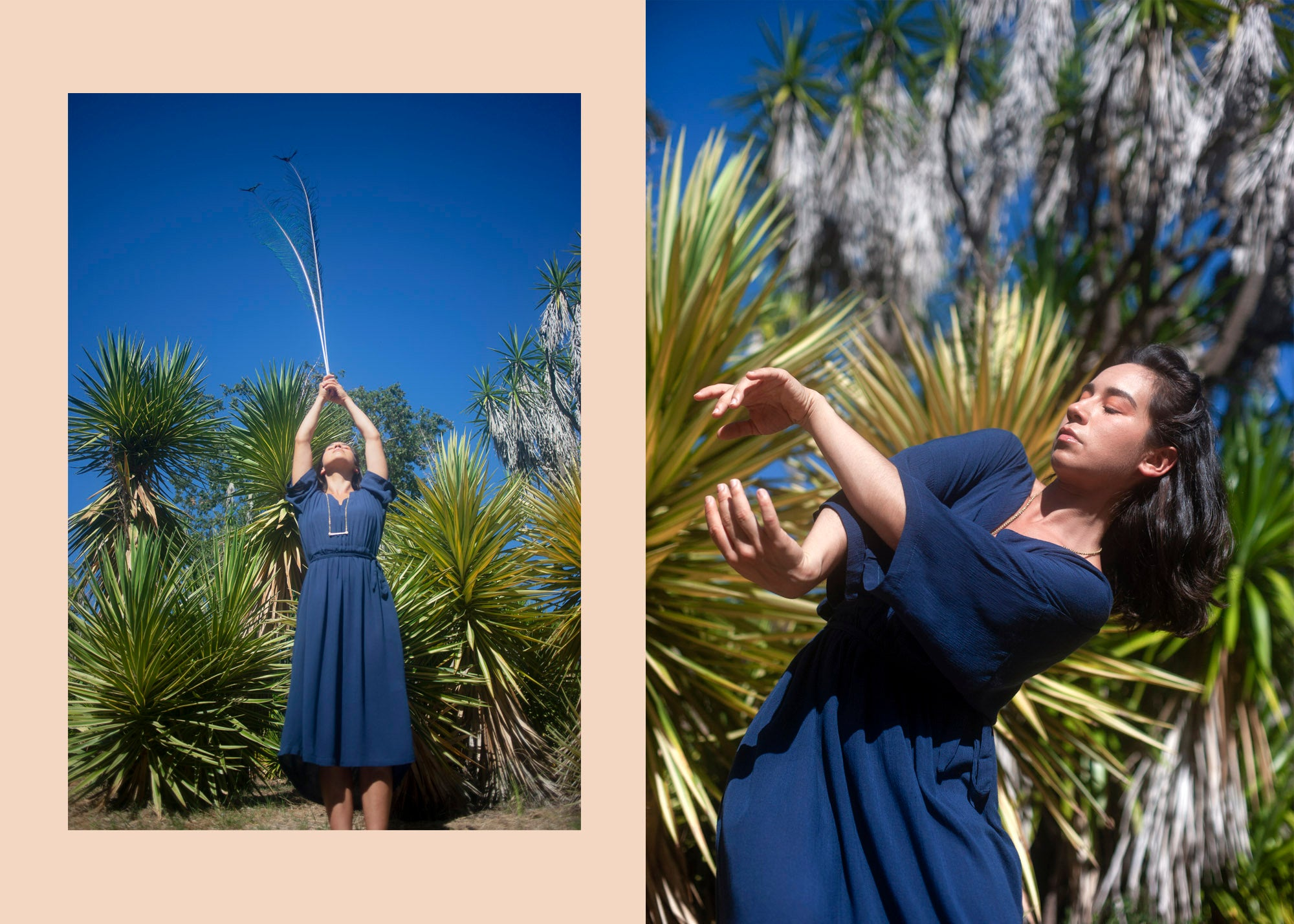 woman dancing with a peacock feather wearing a sustainable dress