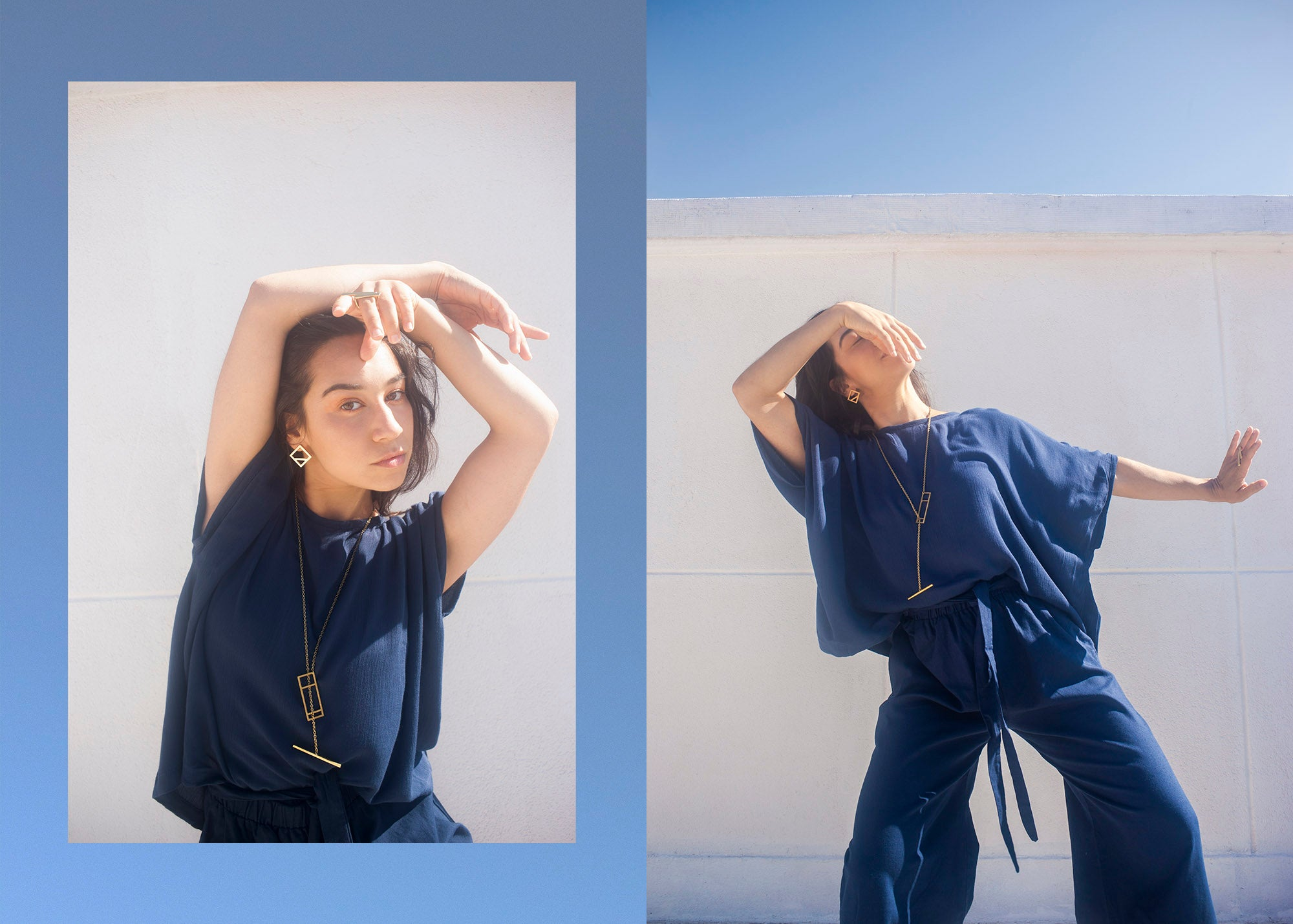 Woman standing in front of a blue sky and white wall dancing, wearing a royal blue loose cut sustainable top and pants
