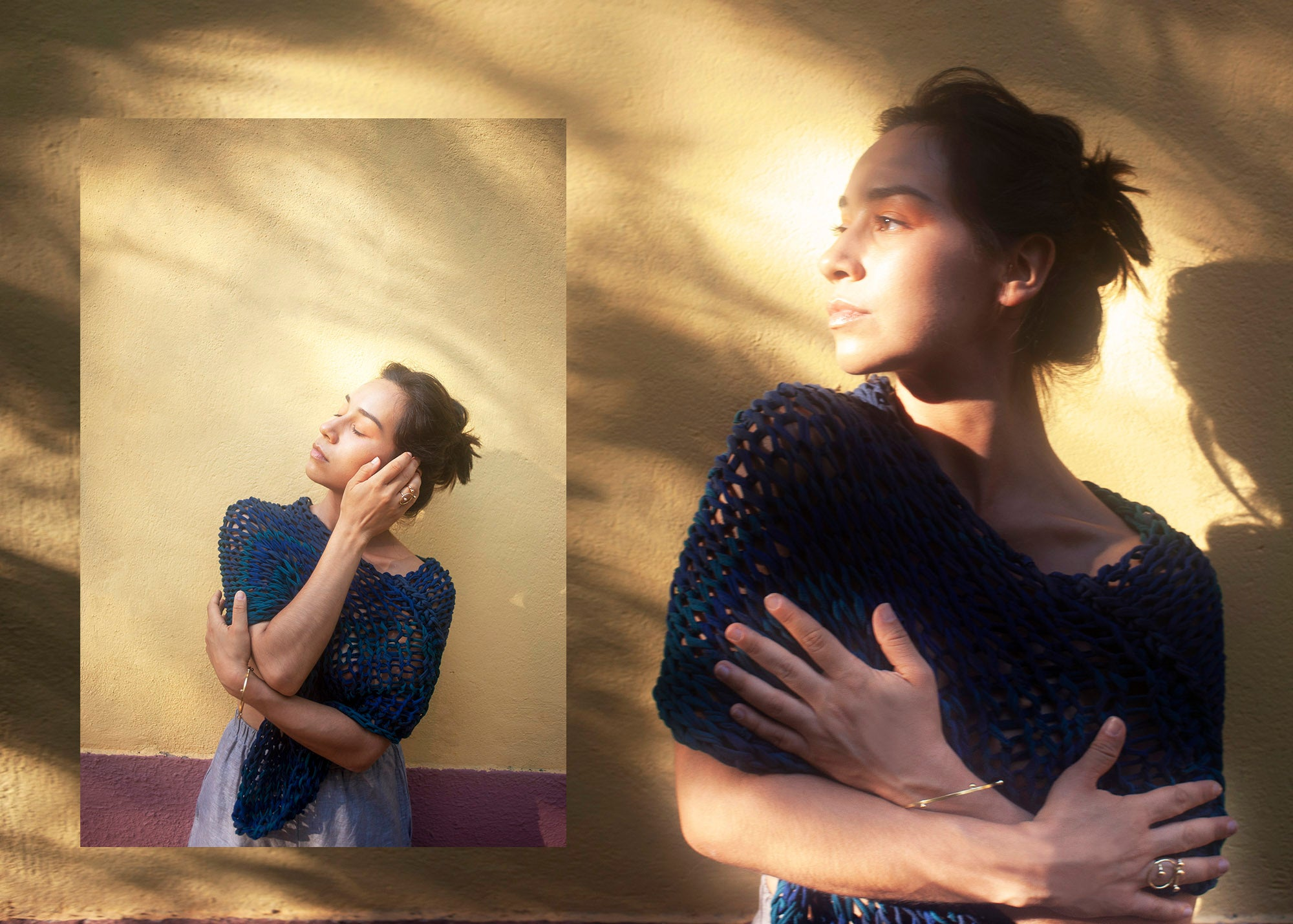 A woman in a diptych image wearing a handknit teal poncho in front of a yellow wall in the sunlight