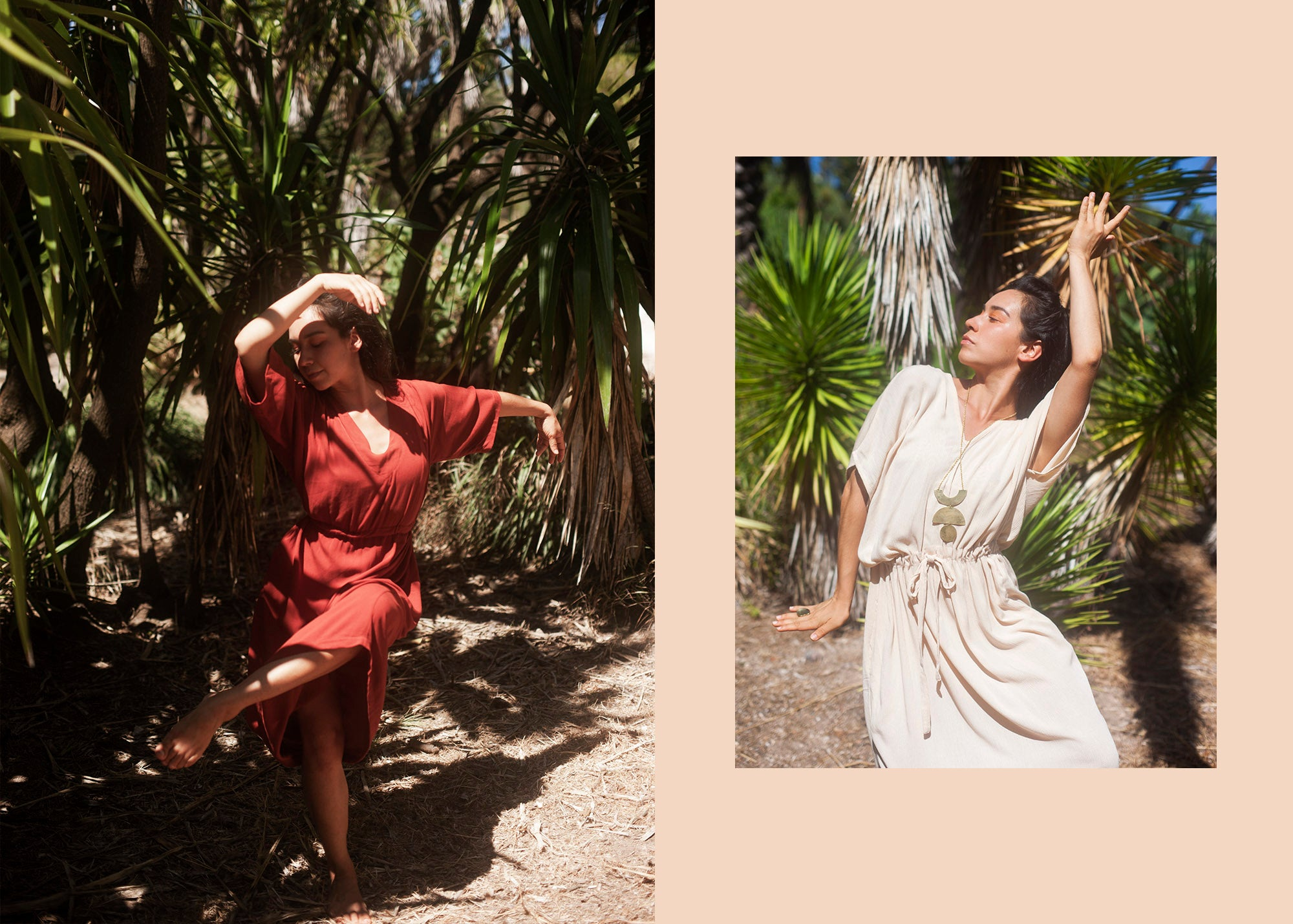 dual image of a woman wearing a red and palm dresses dancing amoung trees