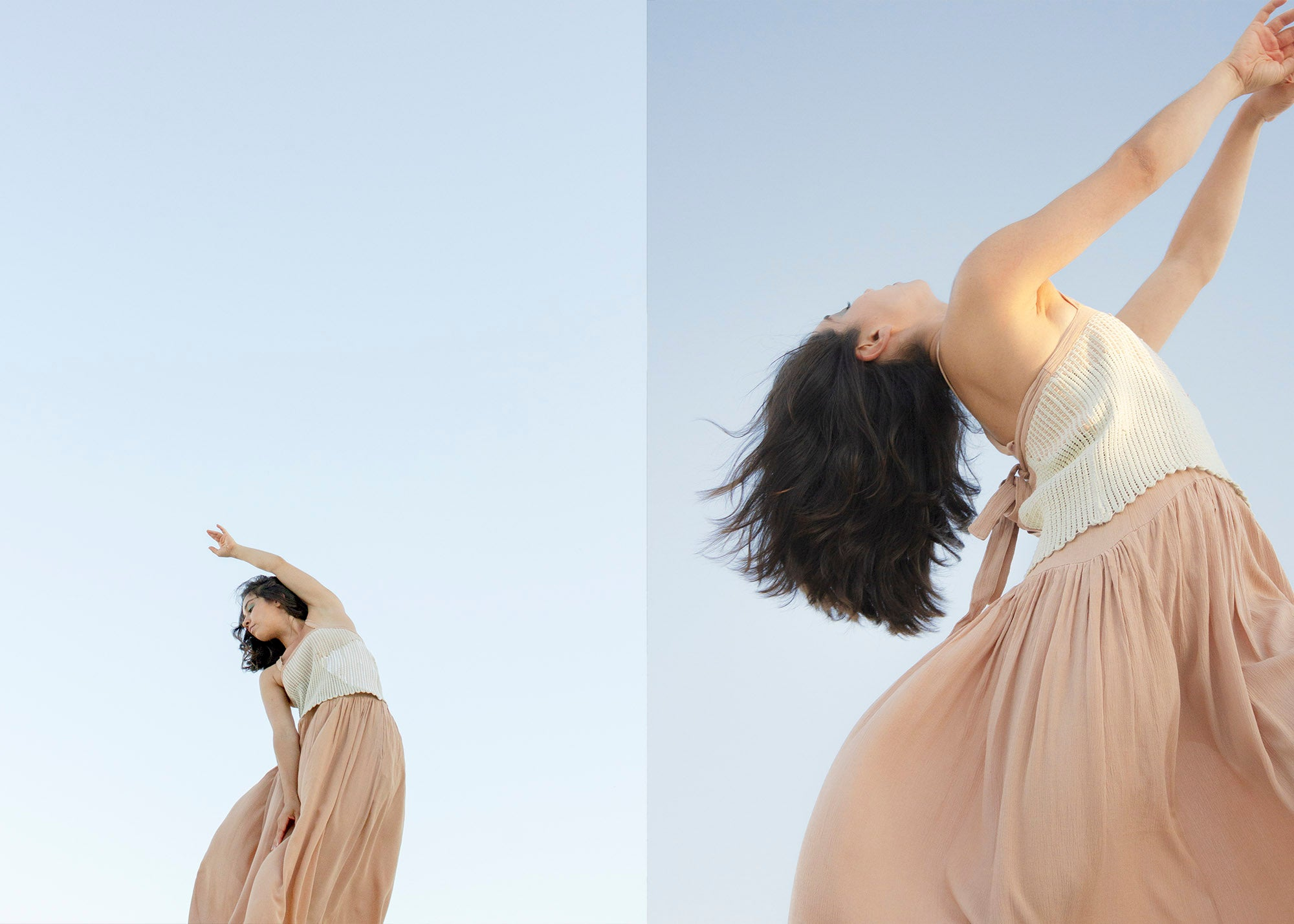 woman dancing wearing a light tan naturally dyed and handwoven dress in front of a blue sky