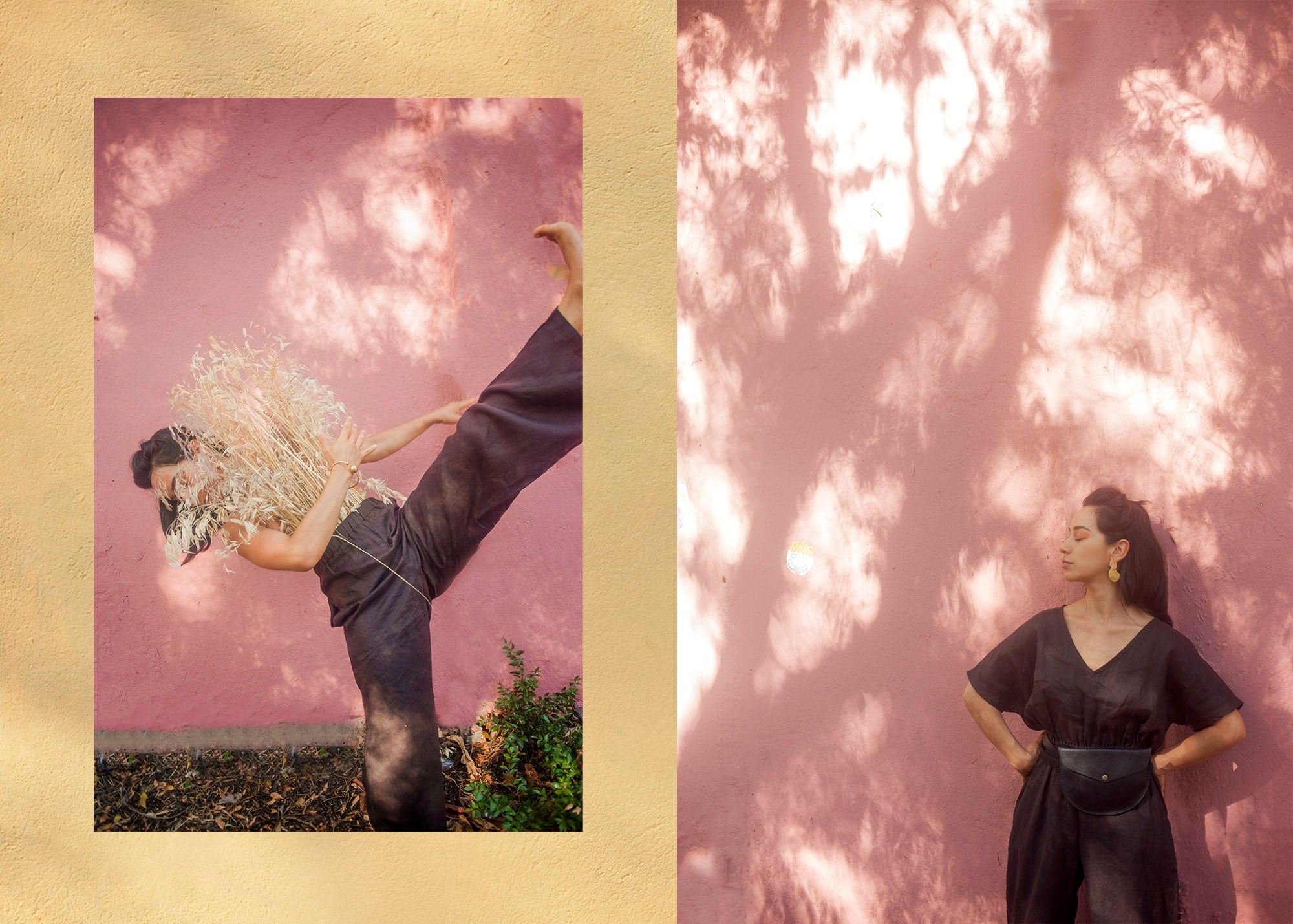 Woman dancing wearing chocolate drawstring pants with greenery and a pink wall