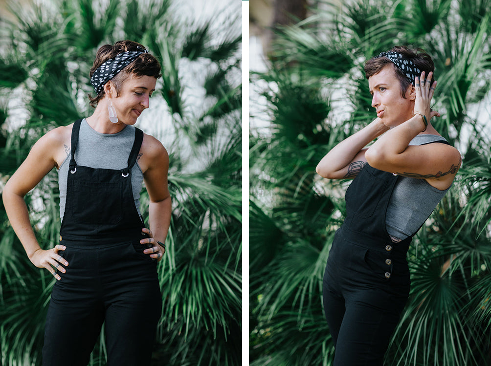 Jess wearing the zero waste RJ overalls in black standing in two different poses.