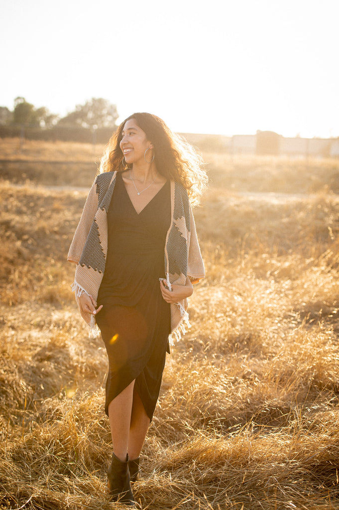 Kristy of Brown Girl Green wearing tonlé's zero waste handwoven jacket and dress