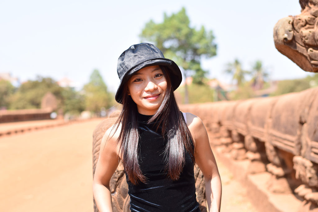 Sreyoun at the Bayon temple in Siem Reap, Cambodia