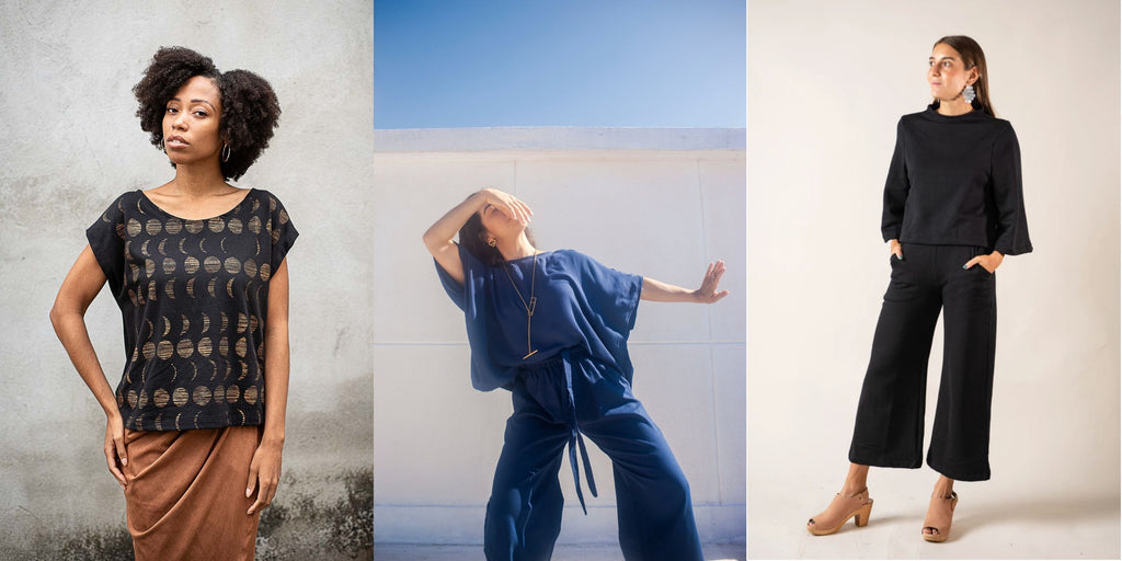 Three side-by-side images of models in a black t-shirt with hand printed moon cycle, loosely fitting soft blue set and cozy yet chic black sweatsuit