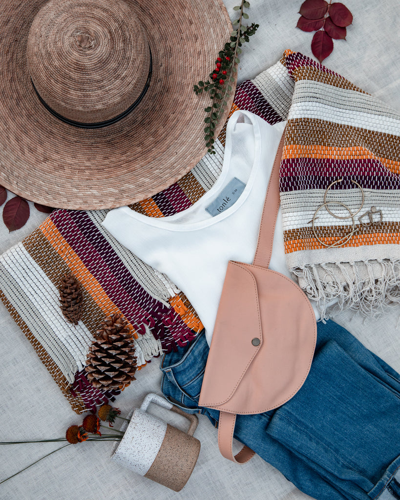 flat-lay photo of giftable tonlé items and items from other brands