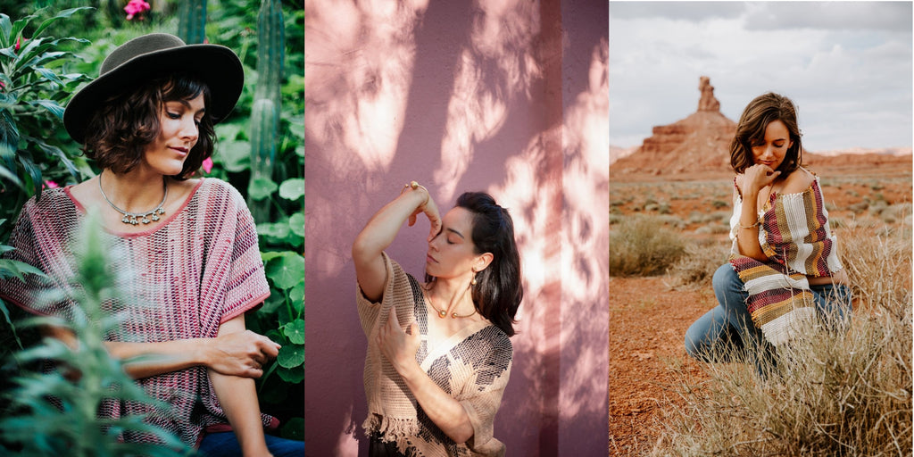 Three side by side images of models wearing our zero waste handwoven crop top, cardigan sweater and wrap scarf