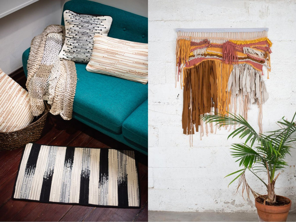 Side by side images of our handwoven homewares in neutral tones and a one of a kind wall hanging both made from reclaimed fabric scraps as part of our unique zero waste process