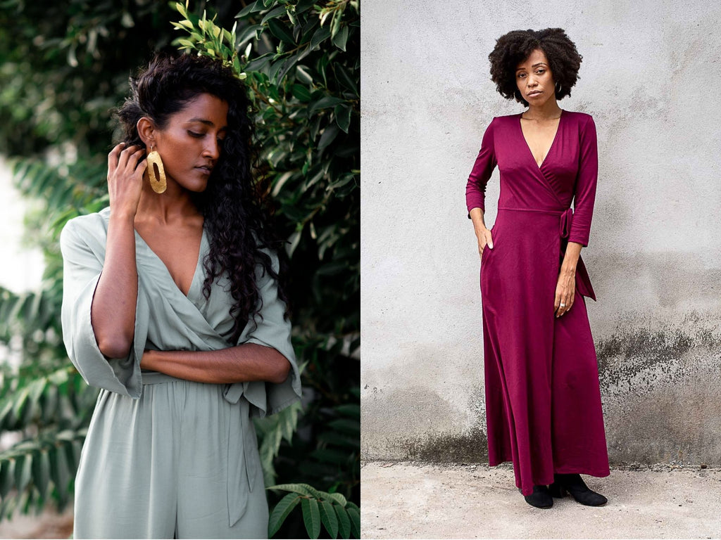 Side by side image of two models, one wearing our sage green jumpsuit with flowing sleeves, the other wearing a wine red flattering wrap dress