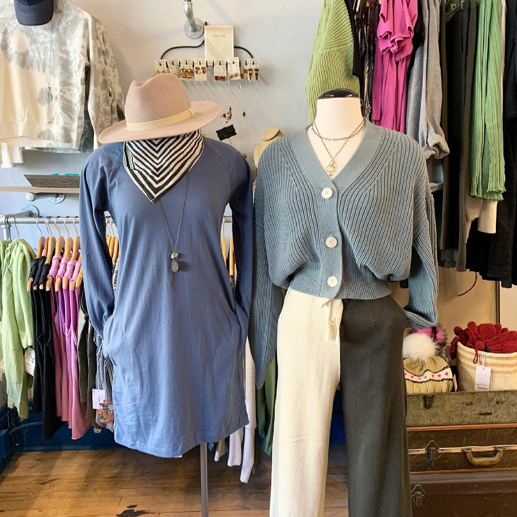 tonlé's Khema Dress in dusty blue at Spoils of Wear, a sustainable boutique in St. Paul