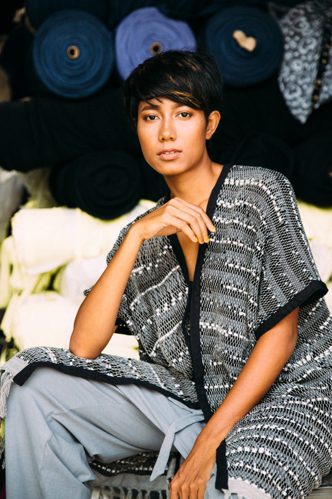 Black and white zero waste fashion kaftan made from recycled fabric by tonle