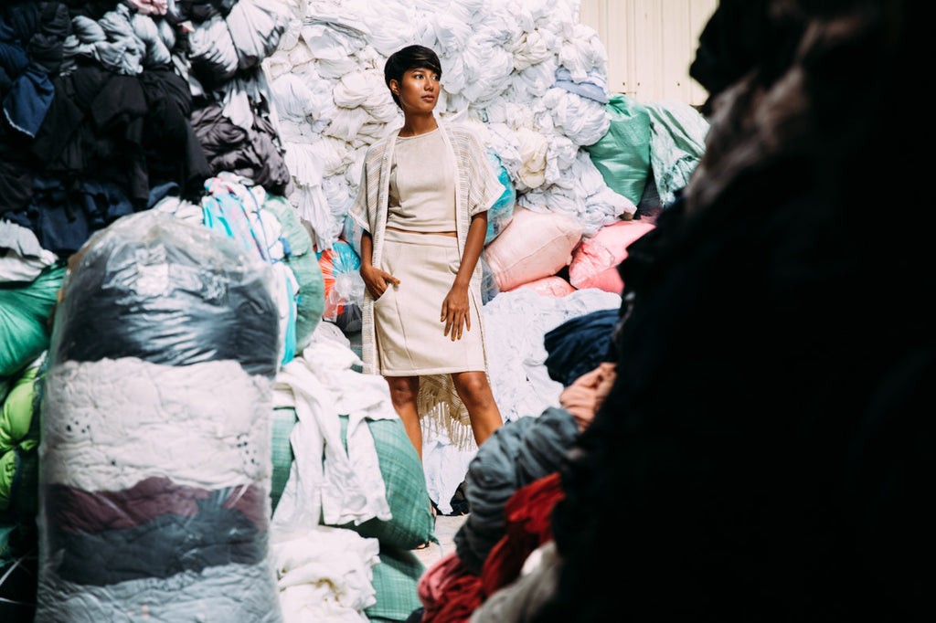 tonle - piles of garment factory scraps turned into zero waste clothing