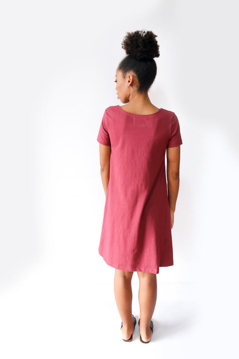 A back view of our ethically made A-line t-shirt dress.