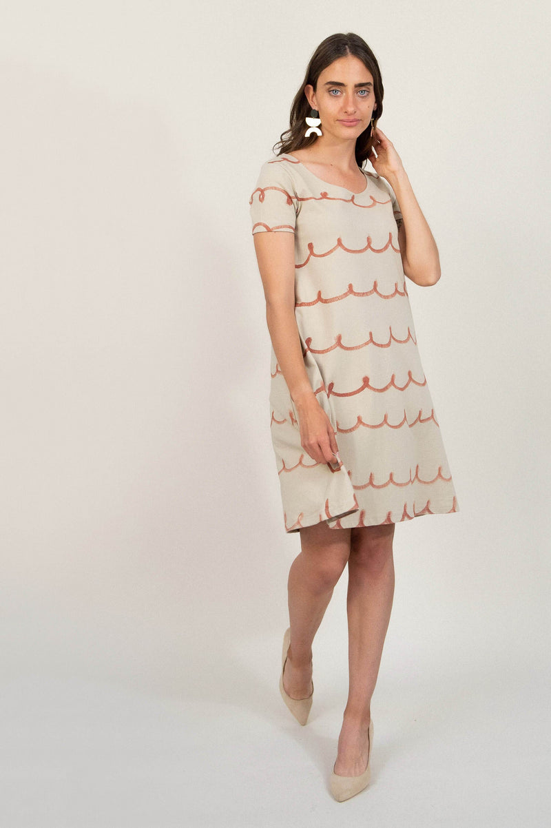 a-line t-shirt dress with whimsy print - open closet - x-small - rarely worn
