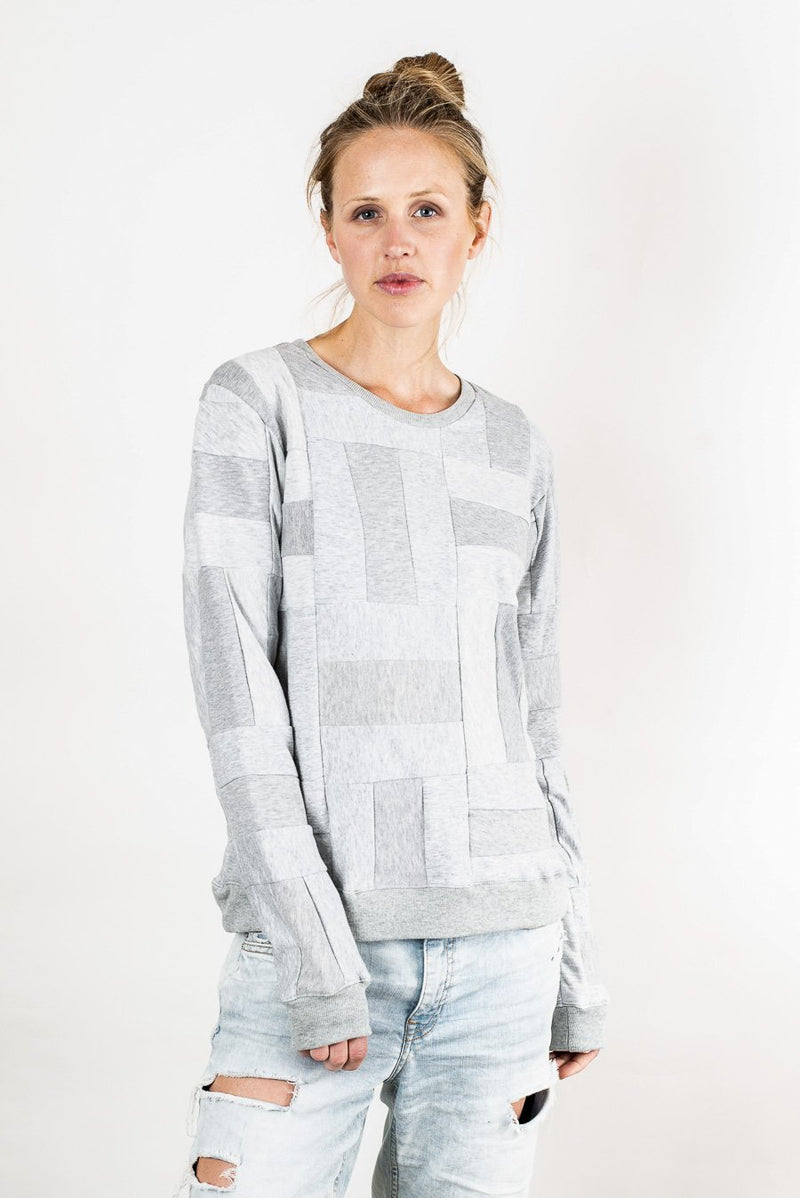 Grey Angkor crew neck sweatshirt made from reclaimed jersey.